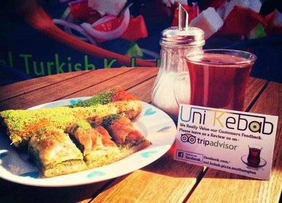 Uni Kebab : Enjoying the Weather with cay & Baklava
