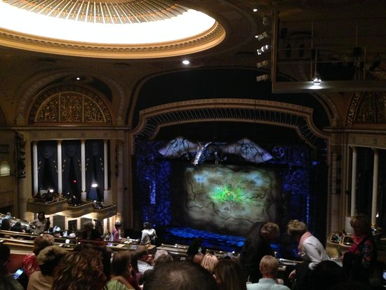 Ed Mirvish Theatre: View of stage of Wicked performance from mezzanine