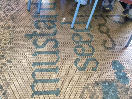 Mustard Seed Cafe: The whole floor is done in pennies!!