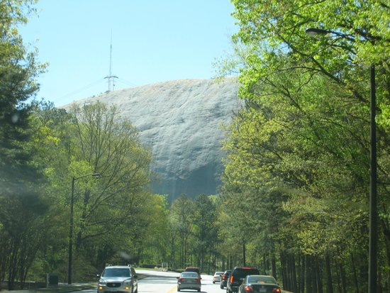 Stone Mountain Carving: Mountain view as we drove into the park