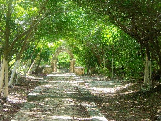Hacienda Mundaca: Walk way to stone garden entrance