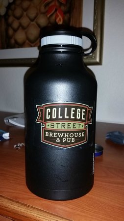 College Street Brewhouse & Pub: They slapped their sticker on my growler. Love it!