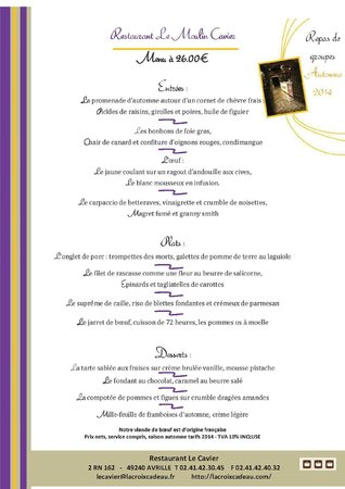 Restaurant Le Cavier : le menu