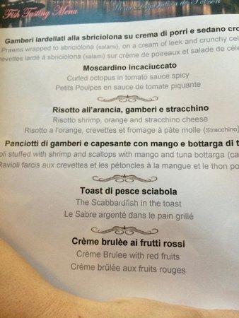 Hostaria Le Repubbliche Marinare : El menu
