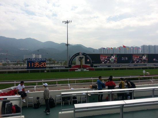 Sha Tin Racecourse : 外国人エリアからのコース見た景色