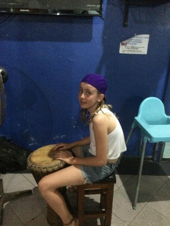 Piggy's Bar and Cafe: My daughter beating her own tune