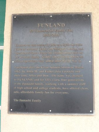 Funland Plaque on side of building at the boardwalk
