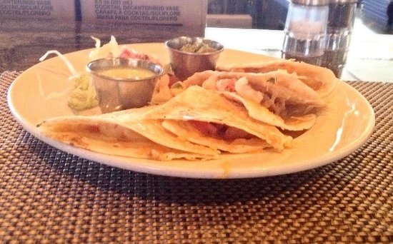Perfect Landing : Shrimp quesadilla. Lacking in cheese, shrimp were nice size, green dipping sauce was odd.