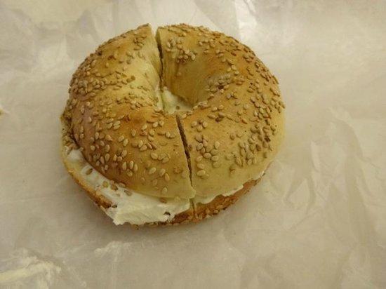 Brewed Awakenings : Sesame bagel with cream cheese