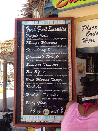 Eduardo's Beach Shack: Many great tasty smoothies