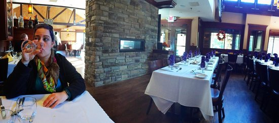 Cinders Wood Fire Grill: Dining Room and Fireplace.