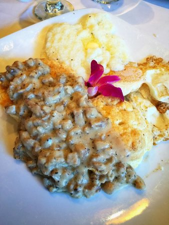 Cinders Wood Fire Grill: Biscuits and Sausage Gravy with Grits