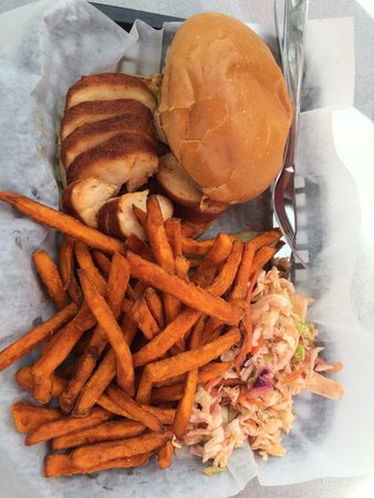 Satchmo's BBQ: Chicken sandwich, coleslaw and SP fries. Oh so tasty!