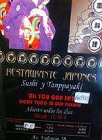 Yamasaki: triptico restraurante con precios
