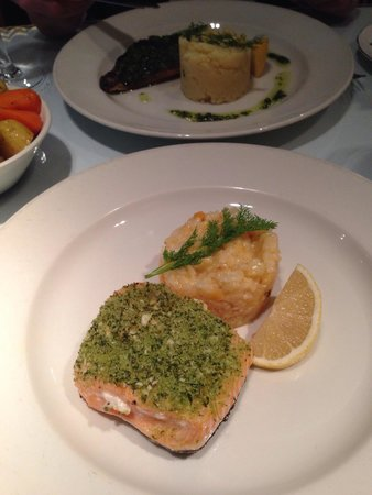 Two Fat Ladies West End : Salmon and risotto. The risotto was a little bit overcooked.