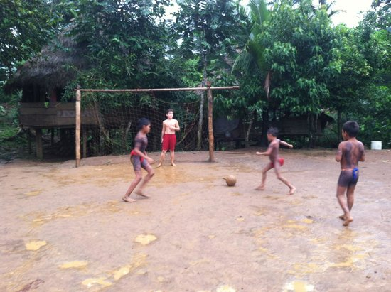 Emberá Village Tours & More: My son playing soccer with village boys