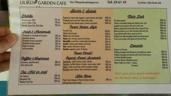 Lilikoi Garden Café : The menue