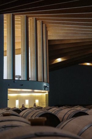Bodegas Ysios : Barrels storage - right in front of entrance