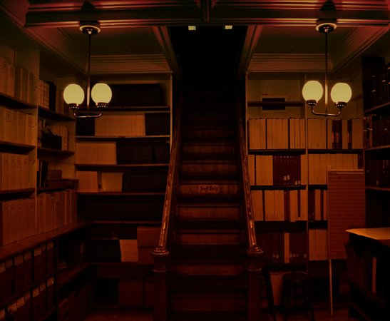 Peabody Library: stairs seem to go to ceiling
