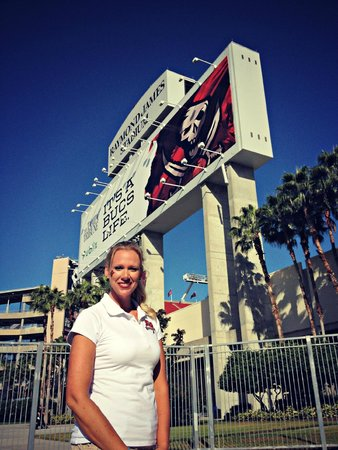 Me at the entrance to Raymond James Stadium