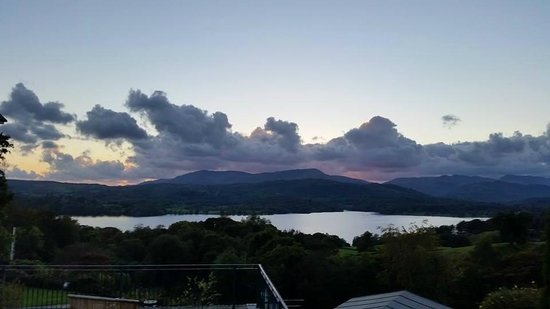 Holbeck Ghyll Country House: View from our balcony of sunset over Windermere