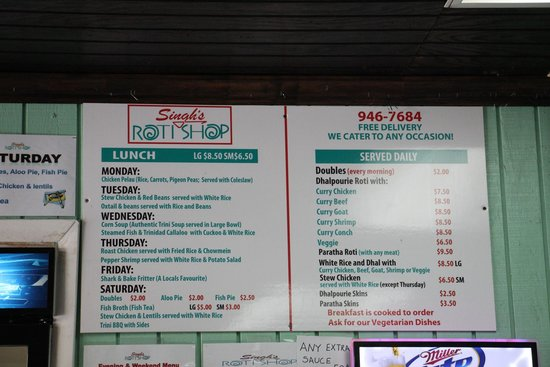 Singh's Roti Shop & Bar: Singh's Roti Shop daily specials