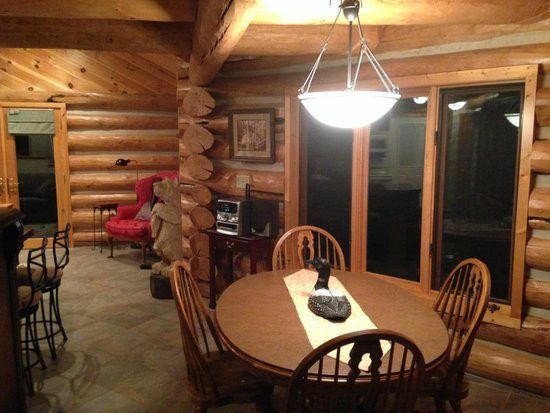 Little Marais Lakeside Cabins: White Bear Cabin-Kitchen looking at dinning room and part of living room