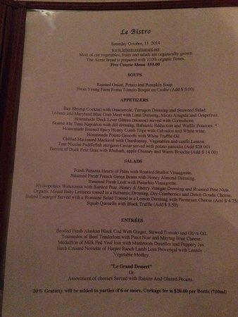 Le Bistro : Prix Fixe menu