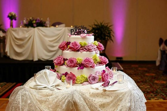 Chicago Marriott Southwest at Burr Ridge: The cake was supposed to have a ribbon on each layer with one large flower on each tier..