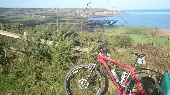 Whitby - Scarborough Trailway : Robin Hoods Bay & the North Sea from the Cinder Track