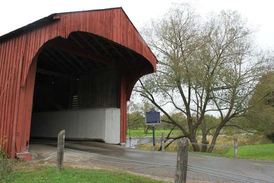 West Montrose Covered Bridge (Kissing Bridge): South Entrance. There is a small place to park the car while you enjoy the surroundings.