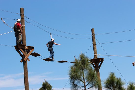 Fellsmere, FL: Crossing the Bridge on the High Ropes Course