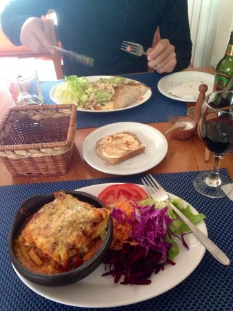 ecole!: Lasagna with green salad and the burrito
