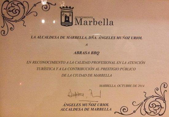 Abrasa BBQ SteakHouse: Nuestro premio del Ayuntamiento de Marbella y de la Alcaldesa.