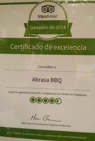 Abrasa BBQ SteakHouse: Nuestro bien preciado Certificado del 2014! muchas gracias