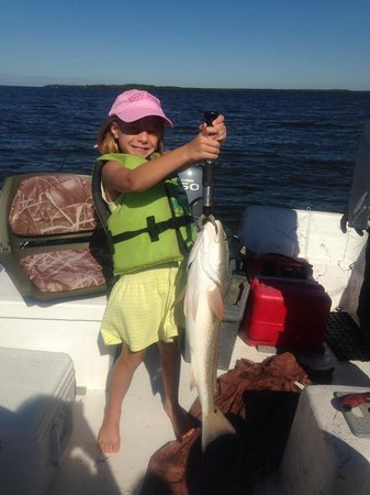 "Everglades Backcountry Experience with Capt. Rodney Raffield: Our 6-year old caught the 27"" Redfish!"