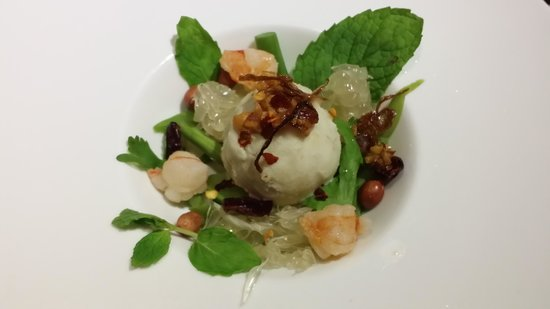 "Wild Rocket @ Mount Emily : Pomelo salad with ""Ice cream"" salad dressing"