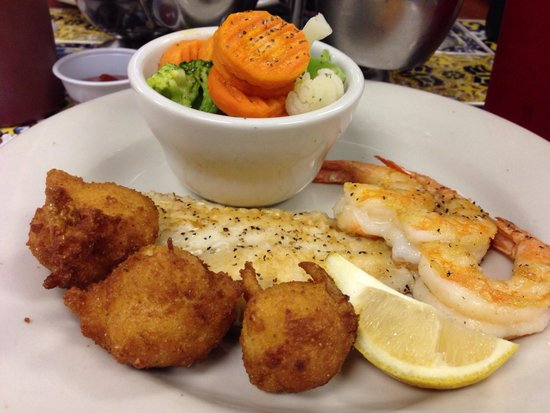 Blue Ocean Seafood: Grilled flounder and shrimp with steamed veggies