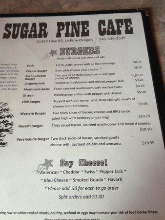 Sugar Pine - Burger Menu