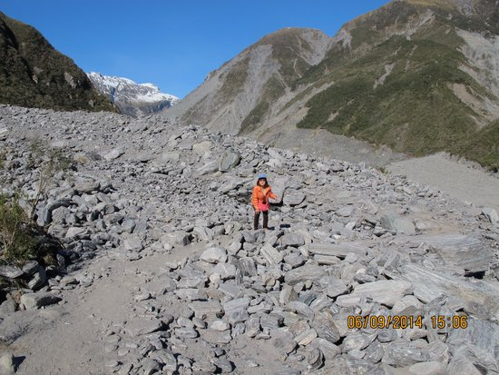 Fox Glacier Hiking Trails: Rocky path to Fox Glacier