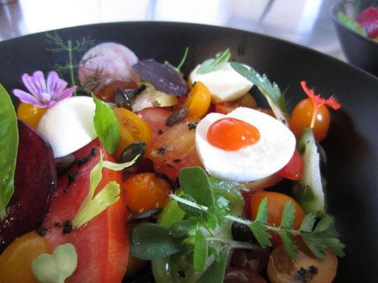 Fiac, France: Tomates et herbes du jardin, mozzarella de bufflonne