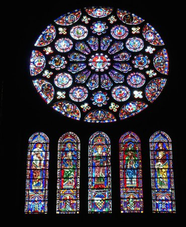 Timhotel Chartres Cathédrale : Stained glass panels, Chartres Cathedral (Sept 2014)