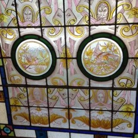 The Falmouth Hotel: Stained glass window detail