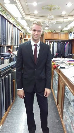 Marty's New Fashion: Modeling in a Marty's suit.
