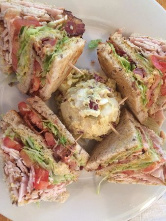 Sunflower Bakery and Cafe: Turkey Club with Potato Salad