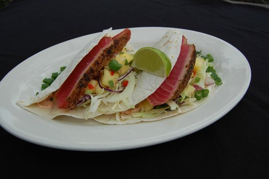 Poe's Tavern: Spiced Yellowfin Tuna Tacos with Pineapple Relish, Shredded Cabbage & Chipotle Sour Cream