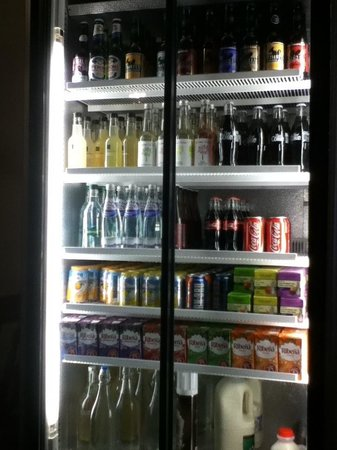 The Store at Belhaven: Drinks cabinet includes water, milk, pop and juice.