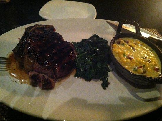 J.Gilbert's Wood-Fired Steaks & Seafood: Bone-in Filet w/ side of veg & Creamed Corn
