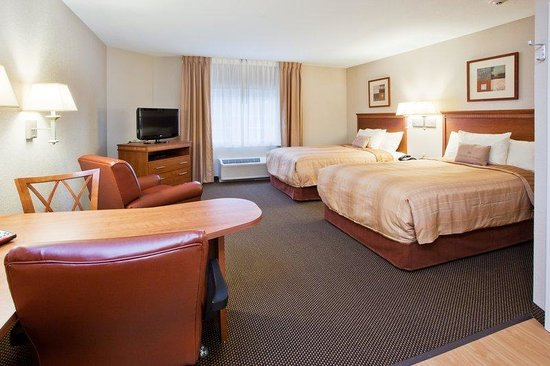 Candlewood Suites Apex Raleigh Area Double Bed Guest Room Nc Hotel