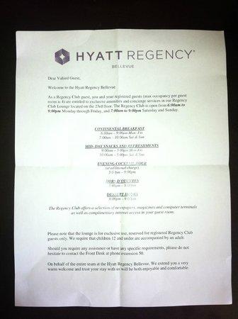 Hyatt Regency Bellevue: Regency Club Information